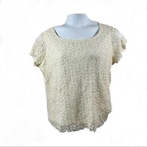 Coldwater Creek Lace Overlay Top Sz XXL Cream